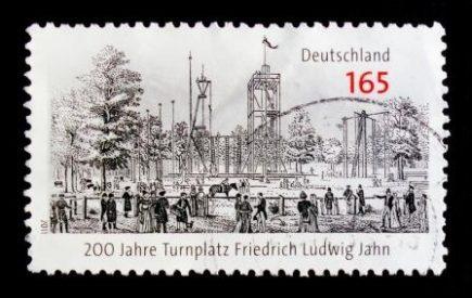 Postage stamp showing a Turnplatz commemorating Friedrich Jahn founder of the German Turnen Gymnastics movement