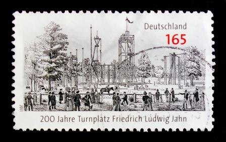 Postage stamp showing a Turnplatz commemorating Friedrich Jahn founder of the German Turnen Gymnastics movement