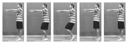 male doing standing pilates footwork to help with skiing