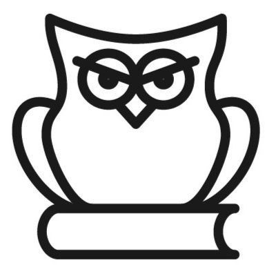 Icon showing an owl on top of a book representing critical thinking