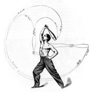 A drawing depicting a man swinging an Indian Club taken from Sim Kenoe's book 'The Indian Club Exercise'.