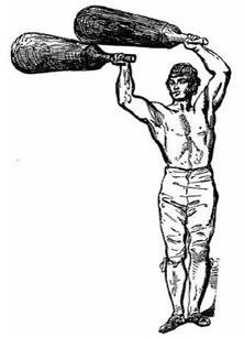 Physical Culturist Professor Harrison swinging two Mugdal, Jori or Mil.