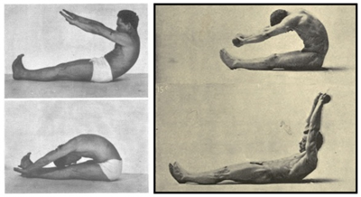 An image of Joseph Pilates and Eugen Sandow performing the roll up exercise.