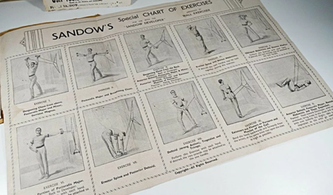 A leaflet depicting exercises that came with Sandow's Developer for home exercise.