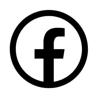 Facebook icon in black.